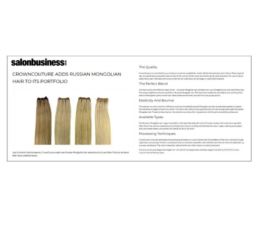 Salon Business features CrownCouture hair