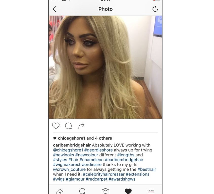 Chloe Ferry wearing CrownCouture hair extensions