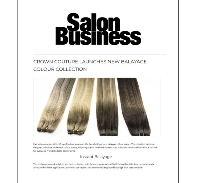 Salon Business features CrownCouture's balayage range