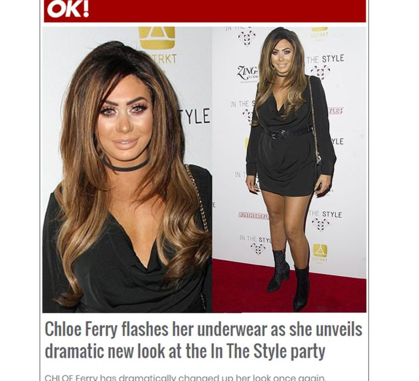 OK! features Chloe Ferry wearing CrownCouture hair